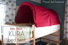 I promised a lot of tutorials when I posted Big Brother's room reveal (check it out here ). and we're finally going to tackle one! Toddler Bed Tent, Toddler Rooms, Ikea Bunk Bed, Kura Bed, Big Boy Bedrooms, Girls Bedroom, Brothers Room, Diy Tent, Boy Decor