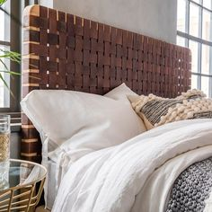 Buy the Teak & Handwoven Leather Headboard today! Diy Leather Headboard, Wood Headboard, Headboards For Beds, Headboard Ideas, Leather Bed Frame, Br House, King Size Headboard, Head Boards, Headboard Designs