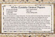 White chocolate caramel popcorn...bet you can't eat just one piece:)  Recipe card made digitally with Photoshop Elements.