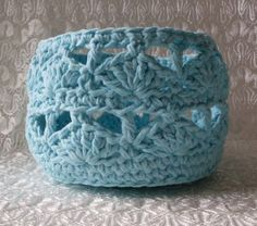 Hey, I found this really awesome Etsy listing at https://www.etsy.com/listing/209245957/tiffany-blue-shell-crocheted-basket