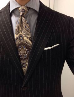 Isaia Corallorosso brown flannel suit Finamore shirt Drakes tie