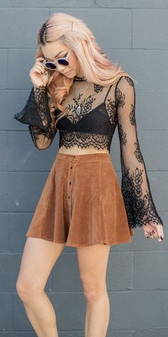 Suede And Lace Outfit Idea Más