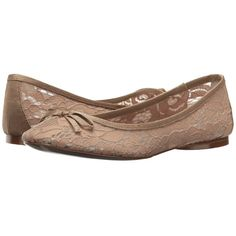 Adrianna Papell Sage (Nude Sophie Lace) Women's Flat Shoes ($80) ❤ liked on Polyvore featuring shoes, flats, bow flat shoes, round cap, slip on shoes, lace flat shoes and slip on flats