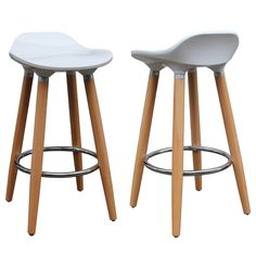 Kick your feet up on the chrome footrest of these Trex Counter Stools. Each stool has a white, ABS plastic seat and naturally finished beech wood legs, offering ultimate style and durability. Bring a