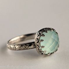Aqua Chalcedony Cocktail Ring in Sterling Silver by ThirtySixTen