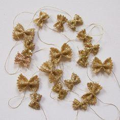 bowtie pasta glitter garland for Christmas - whaaaaat? So cute & cheap & creative!
