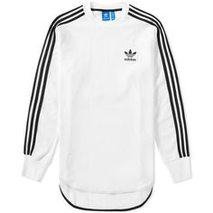 Adidas Long Sleeve Brand Tee found on Polyvore featuring tops, t-shirts, longsleeve t shirts, adidas t shirt, white long sleeve tee, adidas and long sleeve t shirts