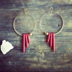 Rayo del Sol Coral Spike Earrings