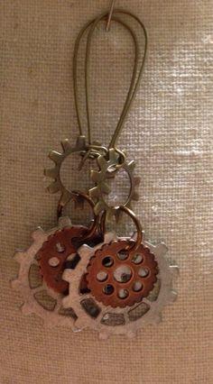 Gear earrings on Etsy, $10.00