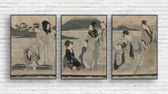 Japanese Vintage Print Set/Fuji Antique Wall Art Combo/Retro Japan Triptych/Japan/Antique Drawning Wall Print/Boat/Ferry/People Poster Mount Fuji, Triptych, Poster On, Asian Style, Vintage Japanese, Folklore, As You Like, Vintage Prints, Wall Prints