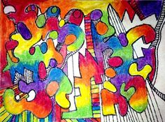 #aedm2014 Inspiring Ideas: A is for Another Year 2014, Line drawing, mixed media, abstract art, color