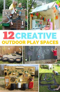 12 Creative Outdoor Play Spaces for Kids. So many fun and unique backyard play ideas for kids!