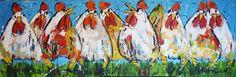 kippen in blauw - www.vrolijkschilderij.nl