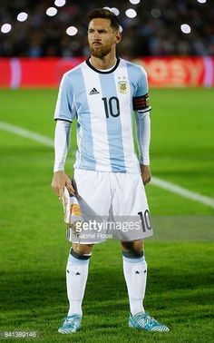 Lionel Messi of Argentina stands for the National Anthem prior a match between Uruguay and Argentina as part of FIFA 2018 World Cup Qualifiers at Centenario Stadium on August 31, 2017 in Montevideo,...