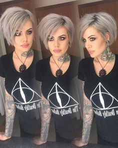 Gray hair color is not only for older ladies, young women sports gray hair wear gradually. Here we have gathered 15 Short Grey Hair Styles for you to get. Cool Short Hairstyles, Bob Hairstyles, Short Gray Hairstyles, Edgy Bob Haircuts, Latest Hairstyles, Short Grey Hair, Grey Short Hair Styles, Short Hair Cuts For Women Edgy, Short Silver Hair