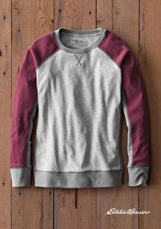 The Legend Wash Sweatshirt - Colorblock | Our bestselling cotton/polyester sweatshirt is treated to our exclusive Legend Wash for superior softness and shape retention. Colorblocking includes baseball-inspired sleeves and slenderizing dark-colored side panels.
