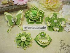 Marfil y adornos de papel verde de papel Scrapbook adornos, flores, adornos para…