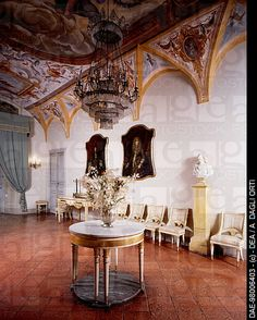 Glimpse of the Room of Bocchirale with furniture, ca. 1820 and 16th century male bust, Rocca Meli-Lupi of Soragna, near Parma, Emilia-Romagna, Italy