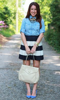 Chambray top with a black and white skirt. Classic.