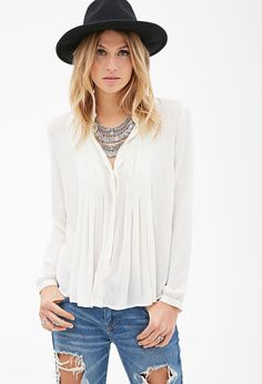Buttoned Pintucked Blouse | FOREVER21 - 2000118804
