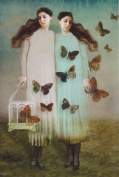 Painting of two girls with butterflies - somewhat surreal © Catrin Welz-Stein