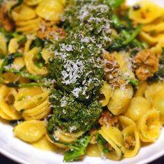 Orecchiette With Broccoli Rabe, Spicy Italian Sausage, and Pesto Recipe