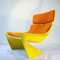 The 265 President Lounge chair. The last Prototype saved from 1968. Found and fabulously restored by #Deerstedt. Color: Alfa Romeo yellow and with Aniline Orange leather. #spaceage #midcentury #modern #Steen #SteenOstergaard #modernist