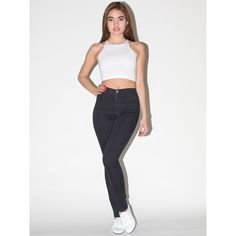 American Apparel Easy Jean ($72) via Polyvore featuring jeans, american apparel, pants, easy jean, black, high waisted jeans, slim cut jeans, slim fit jeans, high rise jeans and slim jeans