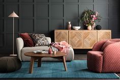 The Comfort palette is all about creating a sanctuary within the home. Call us biased but we think this colour combination creates the perfect space to feel truly rested in. Colour used is Haymes Black Olive. Rugs In Living Room, Living Room Chairs, Living Spaces, Dining Chairs, Room Rugs, Living Area, White Bedroom Chair, Rosa Coral, Globe West