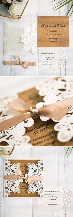 Fancy Ivory Laser Cut Pocket And Kraft Invitation For Wedding SWWS011