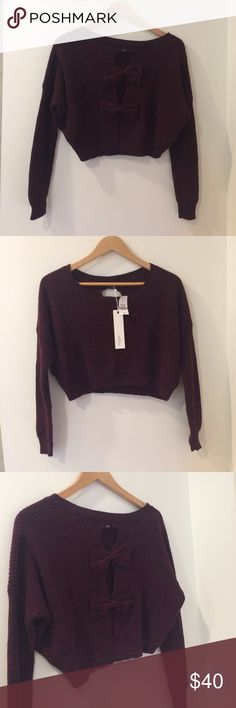LF Millau Bow Back Crop Top Gorgeous Millau LF burgundy/black crop top sweater. With 3 keyholes and 2 bows on the back. NWT! LF Tops Crop Tops