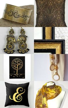 Gold and black by Dorota Kościelniak on Etsy--Pinned with TreasuryPin.com