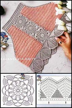 Crochet Motif Patterns, Crochet Bikini Pattern, Crochet Halter Tops, Crochet Shirt, Granny Square Crochet Pattern, Crochet Diagram, Diy Crochet, Crochet Designs, Crochet Stitches