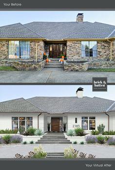 Best Exterior Paint, House Paint Exterior, Exterior Paint Colors, Exterior House Colors, Exterior Design, Exterior Homes, Painted Brick Ranch, Painted Brick Exteriors, Painted Brick Homes