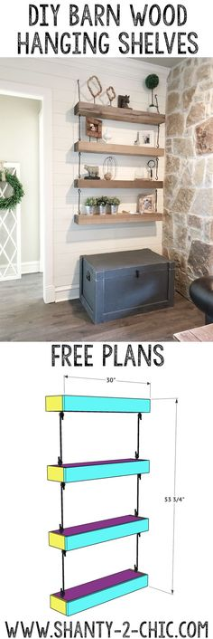 Love these floating industrial shelves! Get the free printable plans and how-to tutorial from www.shanty-2-chic.com via @shanty2chic