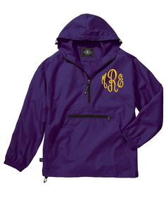 Monogrammed Pullover Jacket with a Hood by MadAboutMonograms, $38.50 Small, Purple w/ Orange thread & elegant font
