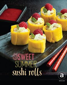 Sweet Mango Coconut Rolls ( and dessert idea! This is sushi like you've never seen it before. Sure to impress your guests! Sweet Mango Coconut Rolls ( and dessert idea! This is sushi like you've never seen it before. Sure to impress your guests! Mango Sushi, Fruit Sushi, Vegan Sushi, Fruit Roll, Sushi Sushi, Mango Recipes, Sushi Recipes, Fruit Recipes, Korean Recipes