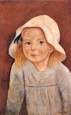 Tadeusz Makowski (1882-1932) | A Girl in a White Hat, 1923, oil on canvas, National Museum Warszawa