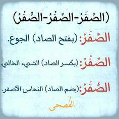 الصفر في اللغة العربية