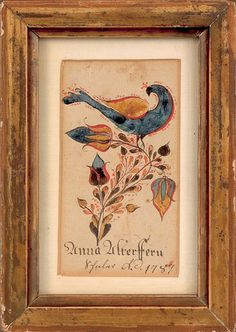 Southeastern Pennsylvania ink and watercolor fraktur award of merit, attributed to Heinrich Brachtheiser, dated 1787