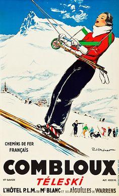 Skiing - Combloux France. 1935 http://www.vintagevenus.com.au/vintage/reprints/info/TV678.htm