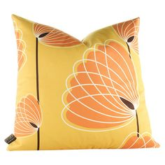 Aequorea Lotus Pillow. Eco-friendly throw pillow with a multicolor polyester lotus motif and feather-down fill. Handmade and hand-printed in the USA.