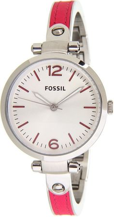 FOSSIL Georgia Three Hand Stainless Steel And Leather Watch - Pink ES3258 : Disclosure: Affiliate link