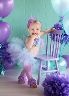 Lavender and Aqua Mermaid Tutu Set-Mermaid Theme, Beach Theme, 1st Birthday, Smash Cake, Gumball Necklace, Headband, Little Mermaid, Lace on Etsy, $22.95
