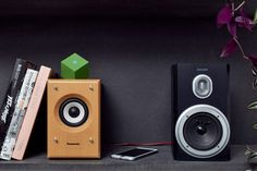 Paul Cocksedge has unveiled the latest design in his mission to save vintage speakers from obsolescence, with a small Bluetooth device that can now provide stereo sound Home Audio Speakers, Monitor Speakers, Sound Speaker, Hifi Audio, Bluetooth Speakers, Wireless Music System, Speaker System, Foley Sound, Home Theater Sound System