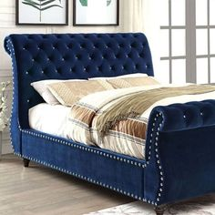 The delicate curved design is accented with crystal-like acrylic buttons and trailed by shined nailhead trim, so chic -shop@glamhomefurniture  #glamhomefurniture#instalove#holidayshopping#shopping#bed#interiordesign#velvet#followme#instaglam#instafollow#furniture#hollywood#berverlyhills#style#interiorstyling#decor#living#dream