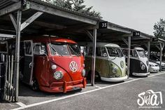 A #Garage full of #Volkswagen busses, does it get more fun than this? #VW #Cool #Classic #Fun
