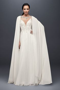 Long Chiffon Cape with Beaded Neckline - This trailing chiffon cape delivers dramatic flair, with Wedding Dress Topper, Boat Neck Wedding Dress, Boho Wedding Dress, Dream Wedding Dresses, Bridal Dresses, Wedding Dress Cape, Flowy Bridesmaid Dresses, Wedding Veil, Davids Bridal