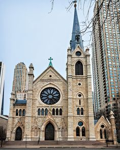 Holy Name Cathedral (1875), front, 735 N State St, Near North Side, Chicago, IL, USA      Gothic design by Brooklyn architect Patrick Charles Keely (1816-1896) • Holy Name Cathedral in Wikipedia • current renovation funded by church's Restore and Renew Campaign • National Register of Historic Places
