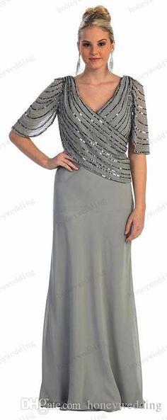 2015 Spring New Arrival Plus Size Beading Chiffon Mother Of The Bride Dresses V-Neckline Half Sleeve Sheath Floor Length Mother Dress